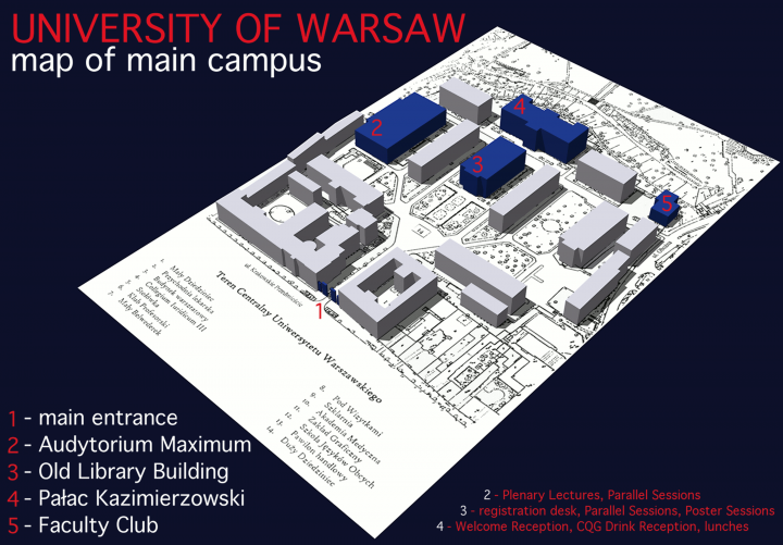 University of Warsaw map of main campus
